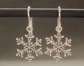 Silver Snowflake earrings, snowflake dangles, solid sterling recycled silver made in usa