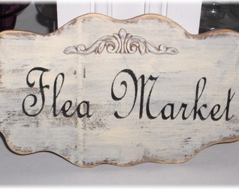 Flea Market Shabby Cottage French Paris Cream Wood Sign Custom Sign