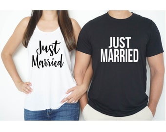 Just Married Shirt Set, Honeymoon Shirts for Couples, Husband and wife Shirt, Husband Shirt, Mr and Mrs Shirt, Newlywed Shirts, Just Married