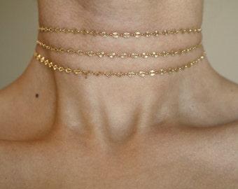 Vienna 14k Gold Filled Choker ~ Gold Choker ~ Dainty Choker ~ Wrap Choker ~ Gold Chain Choker ~ Layered Necklace ~ Gold Necklace