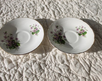 Two Vintage Saucers- Royal Sutherland Fine Bone China- for use in Mosaic, home decor, or collectors