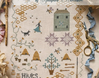Cross Stitch Pattern ~ Dame Crotal and the Bees ~ Instant PDF Download!