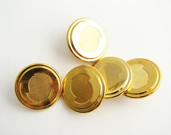 Gold tone metal buttons, 5 shank buttons for jackets and similar, 22 mm, NEW