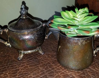 Vintage Silver Plate Creamer and Sugar 3 Piece Set French Country Wedding
