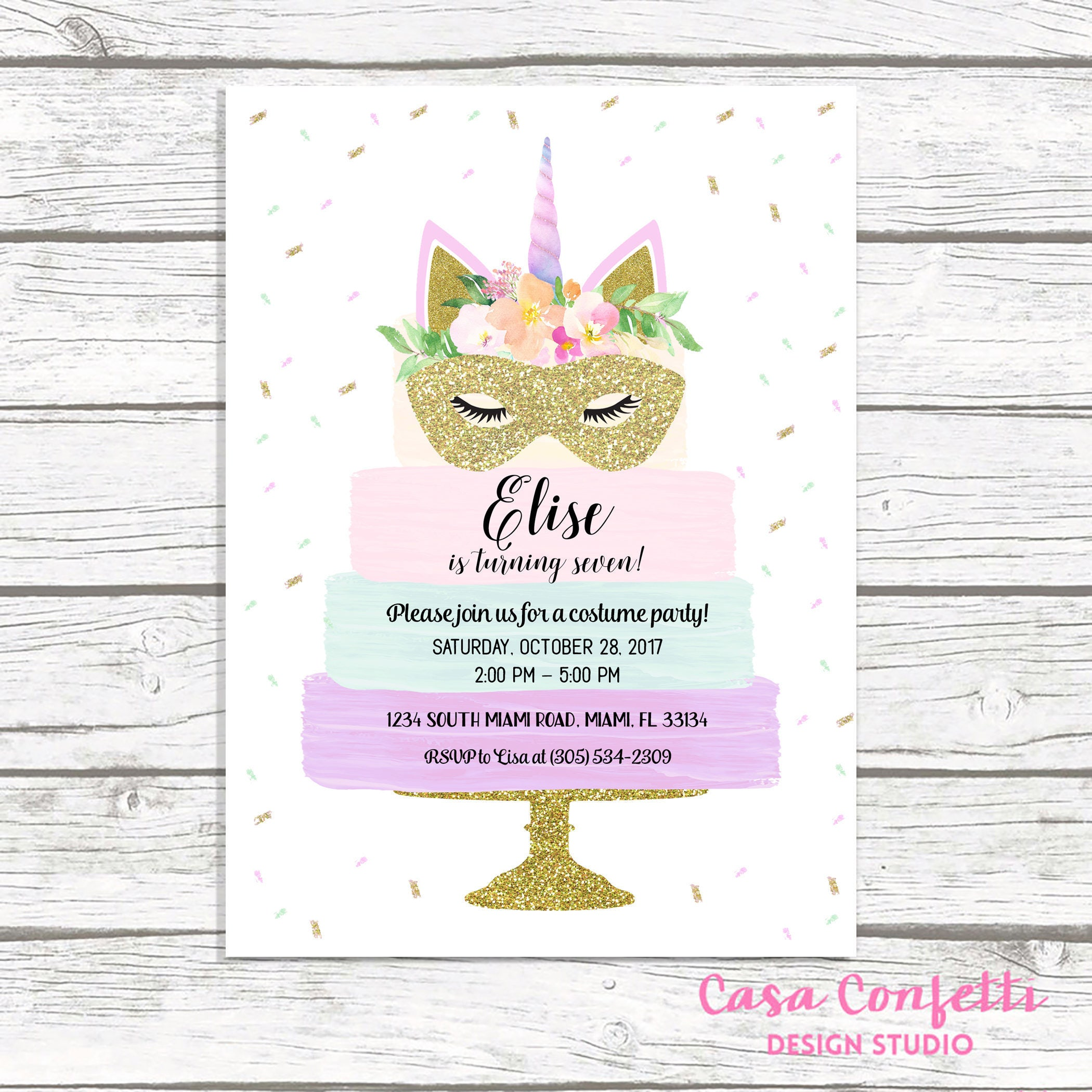 Halloween Birthday Invitation, Unicorn Costume Party Invitation ...
