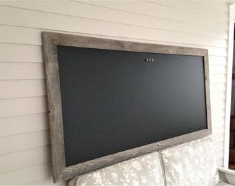 MAGNETIC Chalkboard Barnwood Frame Rustic Bulletin Board 36 x 70 X-LARGE Reclaimed Recycled Weathered Gray Rustic Wood Handmade Made in USA