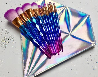 10 Piece Colourful Unicorn Makeup Brush Set/ Brushes with Iridescent Diamond Bag - Birthday - Girlfriend - Gifts for her - Magical - Love