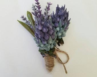 rustic boutonniere, Purple boutonniere, thistle and lavender boutonniere, country boutonniere, woodland boutonniere, purple lavender boutonn