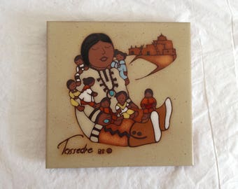 Cleo Teissedre Hand Painted Ceramic Tile ~ Coaster, Trivet, Wall Decor ~ Pueblo Indian Design ~ 1982