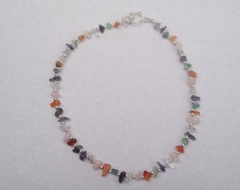 Purple Red Pink Green Clear Rainbow Quartz Silver Bead Necklace by hipknitta
