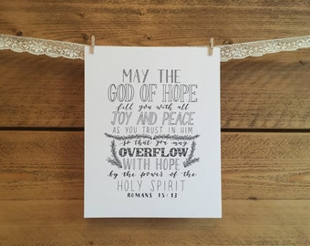 May the God of Hope, Romans 15:13 - 8x10 print - hand lettering print - typography