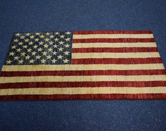 Vintage hand knotted american flag rug