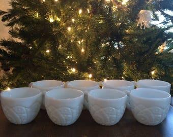 Set of 8 Milk Glass Teacups
