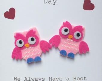 Handmade Cute 3D Felt Owl Couple Valentines Card Can Be Personalised