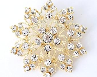 Gold Rhinestone Brooch, Bridal Brooch, Gold Wedding Brooches, Cake Brooch, Bouquet Brooches, Dress Sash Brooch, Gold Brooches Crafts