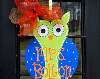Classroom Door Hanger: Owl, Birthday Door Decoration, Owl Party Decoration, Teacher Gift