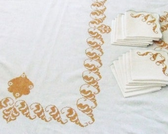 Linen Tablecloth and 12 Napkins with Gold Cross Stitch Curls 68x100 Vintage Table Linens