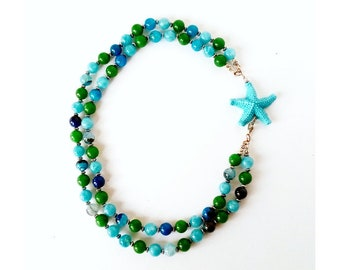 Sea life necklace, star fish necklace, glass necklace for women, green and blue necklace, resin blue starfish, multistrand beaded necklace