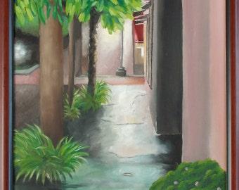 Painting of  Rainy Night in Charleston , cityscape by Velma Serrano