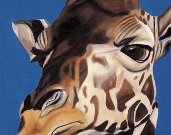 Nursery Art, Safari Nursery Prints, Giraffe Gift, Gender Neutral Baby, Boy's Nursery Art, Baby Shower Gift, For Baby, Blue, 8 x 10 Animal