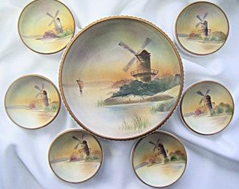 vintage nippon bowl set hand painted windmill