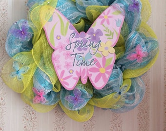 Spring wreath with butterflies