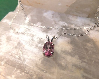 "7x5mm Pink Topaz & Sterling Silver 18"" Necklace"