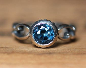 London blue topaz ring, December birthstone ring, bezel set ring, alternative engagement ring, blue topaz engagement ring, custom Wrought