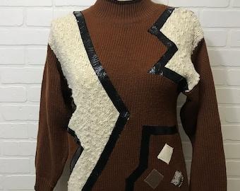 Jazzy Brand Brown Geometric 90's Sweater