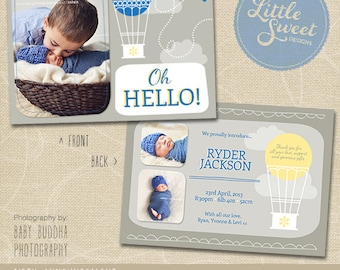 5x7 Birth Announcement Template (Baby Announcement) - Photoshop Template for photographers (BA8B) - INSTANT DOWNLOAD