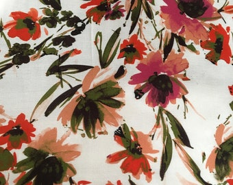 Printed Natural Rayon, Wildflower Printed Fabric by the Yard, Wide Goods Rayon Yardage, Fabric by the Yard, Yardage, Wide Goods