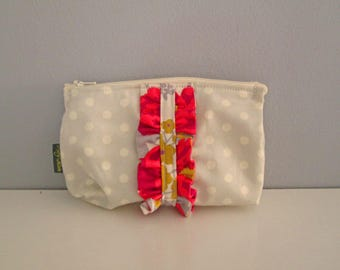 Small Zipper Pouch with Ruffle - Handmade Cosmetics Bag, Travel Accessory, Make up Bag,