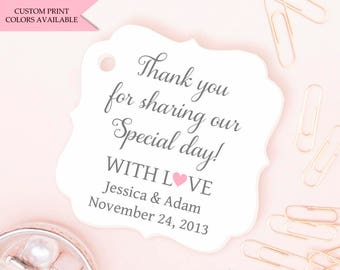 Wedding tags (30) - Wedding favor tags - Wedding gift tags - Wedding thank you tags - Thank you for sharing our special day