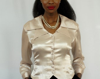 Palest grey satin texture nipped in blouse with double collar 1990s 90s VINTAGE