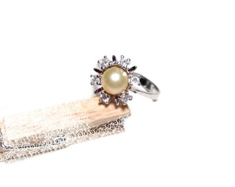 Antique Pearl ring silver, faux Pearl, Gr. 60, antique Pearl ring, silver, US size 9.1 UK size S