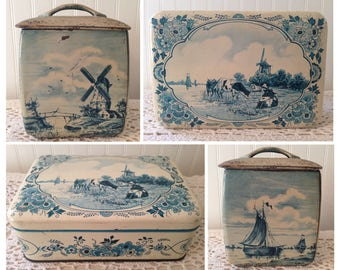 2 Vintage Dutch Tin Containers Biscuit Boxes. Rustic Distressed Windmills, Boats, Pasture Cows. Western Germany. One square, One rectangular