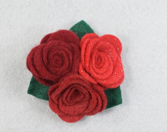 Red Flower Pin Felt Flower Brooch, Red Brooch, Felt Brooch, Red Pin, Felt Flower, Fabric Flower Brooch, Jewelry, Felt Jewelry