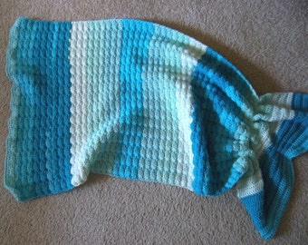Mermaid Blanket - Crochet Mermaid Blanket for Toddler - 28 x 35 inches
