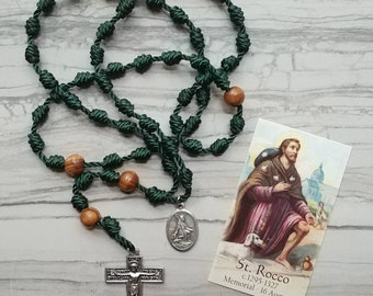 St. Rocco Twine Knotted Rosary with medal and prayer card
