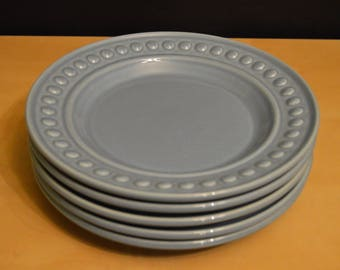 "Set of 5 Del Mar Azure Blue by Nancy Calhoun 8.5"" Salad Plates, Embossed Bead Edge, Dots, Stoneware, Made in Portugal"