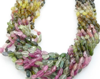 multi tourmaline facetted pear shape