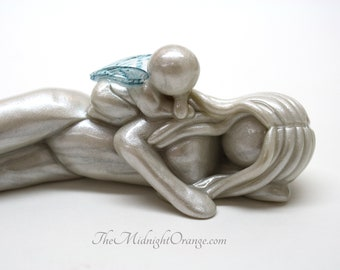 Ever Present Love - Mother and Baby Angel Sculpture - add another parent and up to 7 babies - you customize wings - made to order