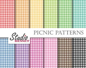 5x7 Digital Papers Picnic, Scrapbook Backgrounds for invitations, cards, Gingham A265