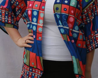 Bright Geometric Print wrap, kimono, pattern, bright, Flirty Flamingo, FlirtyFlamingoStore,