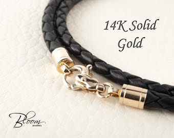 Braided Leather Cord Necklace for Men Leather Necklace 14K Real Gold Clasps Leather Cord Mens Braided Leather Necklace Gold Lobster Claw