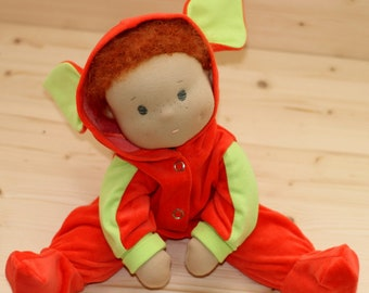 Steiner red hair doll Toddler Toy First Mom day cuddle doll Waldorf Doll Soft waldorf doll weighted Nature Toy Rag Doll velour overall doll