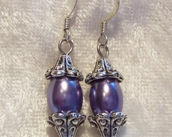 Purple Earrings, Purple Glass Pearl Earrings, Lavender Earrings, Victorian Style Earrings, Drop Dangle Earrings, Clip ons Available