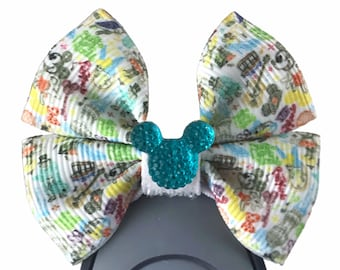 """Magic Kingdom Dooney Band Bow or Apple Watch Bow, 2"""" Mini Hair Bow, Planner Clip Bow - Disney Parks Collection"""