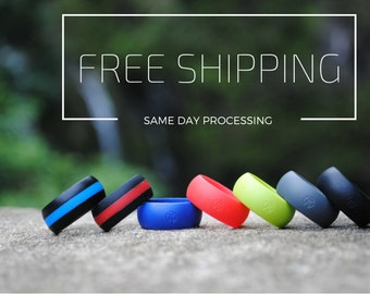 Men's Silicone Wedding Ring by Fit Ring ™ (Black, Blue, Red, Gray, Green, white, line) *** Best Silicone Band On The Market Guaranteed  ***