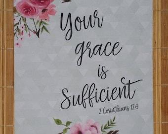 Bible Verse Mouse Pad, Your Grace is Sufficient, 2 Corinthians 12:9, Roses Arrows Mouse Pad, Scripture Mouse Pad Christian Mouse Pad SALE